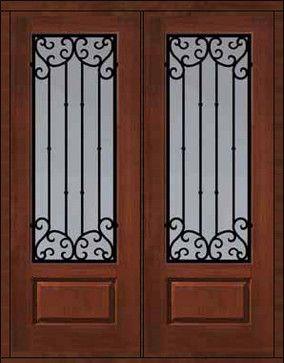 Prehung Double Door 96 Fiberglass Valencia Lite Wrought Iron - eclectic - front doors - t&a - US Door \u0026 More Inc & Prehung Double Door 96 Fiberglass Valencia 3/4 Lite Wrought Iron ...