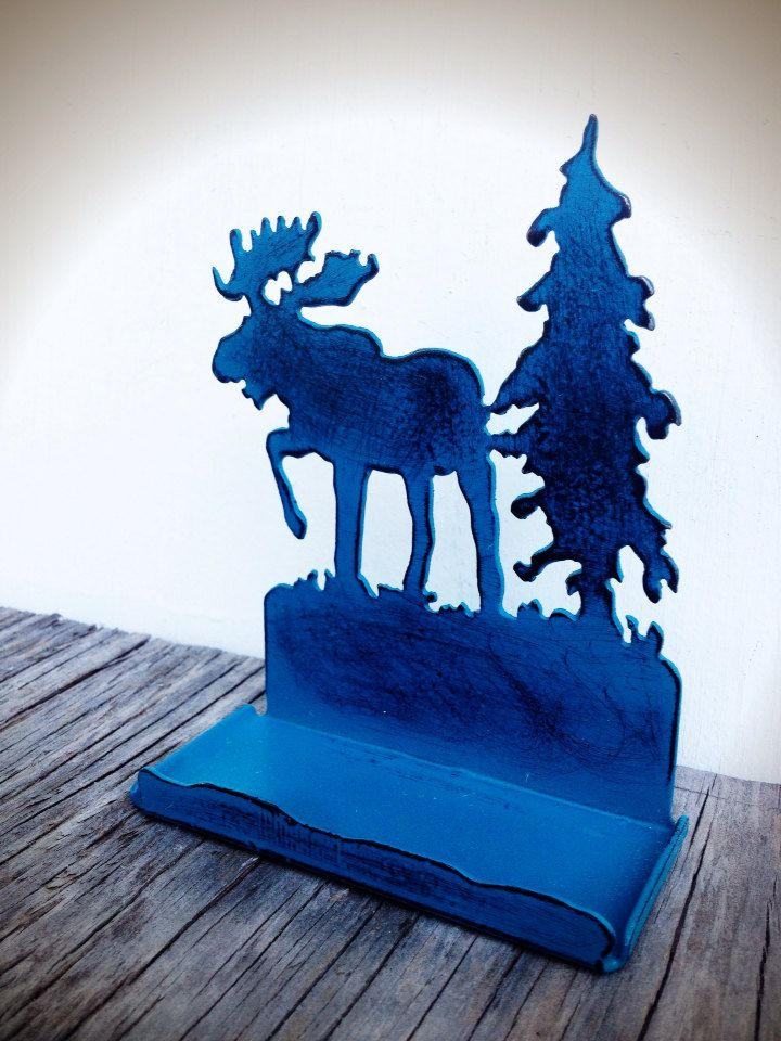 BOLD teal moose & tree business card holder // rustic shabby chic ...