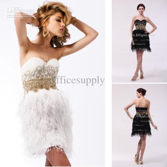 d67b75a768 Wholesale White Gold Short Mind Cocktail Dresses with Feather Skirt ...