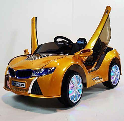 usa ride on toys bmw i8 style yellow 12v power wheels sport cars for kids led