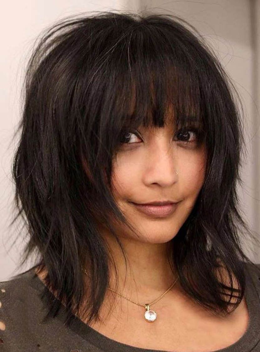 Layered Bob Messy Straight Medium Synthetic Hair With Bangs Capless