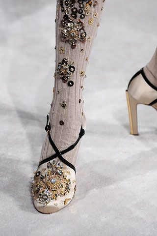 Jewel encrusted socks? And look at those shoes!