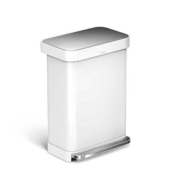 Simplehuman Liner Pocket RVS Afvalemmer 55 L - Wit - afbeelding 1