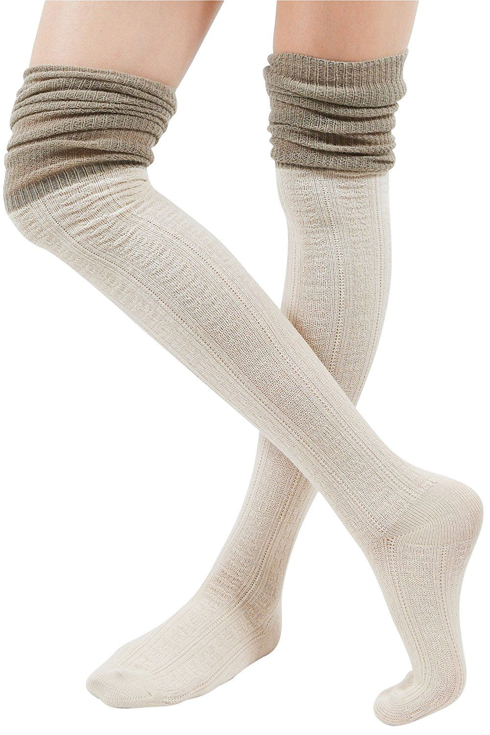 d8a7ef436ed WowFoot Ladies Knit Over The Knee High Socks Women Slouch Stockings  (Two-tone   Ivory)