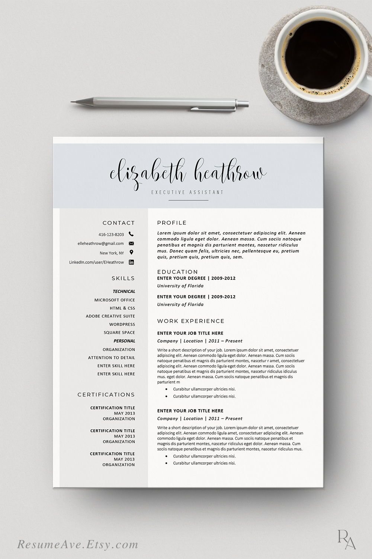 Creative Nurse Resume Template Word With Blue Header Modern Calligraphy Design For Executive Resume Lebenslauf Design For Digital Download Resume Template Word Resume Design Template Resume Design
