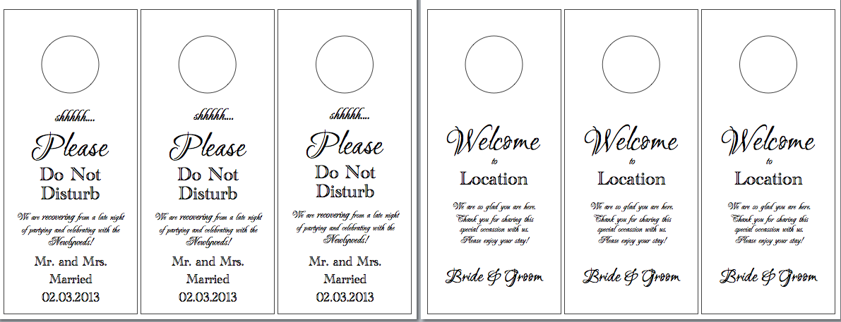 Hotel Door Hangers  Wedding Bathroom Baskets Wedding Bathroom