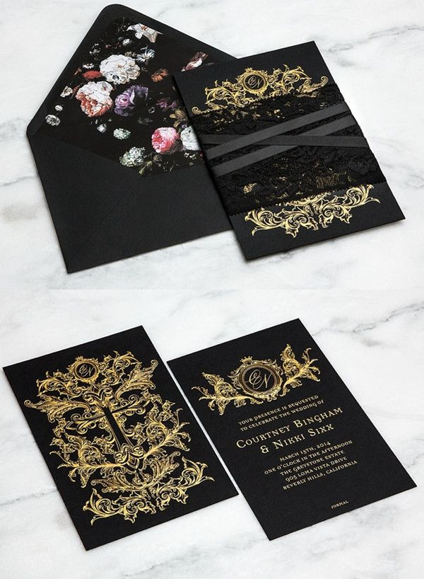 Black Lace And Gold Wedding Invitation Kits Http Www Deerpearlflowers