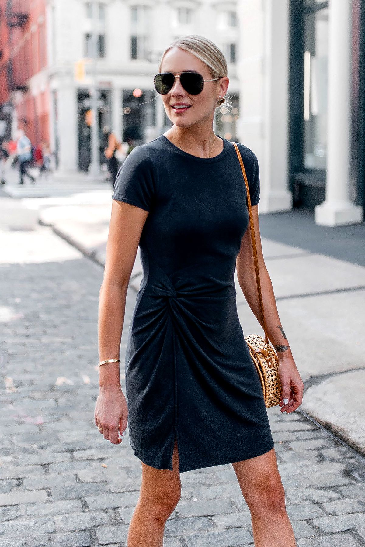 74fd99a5aa4 Blonde Woman Wearing Abercrombie Grey Knot Front Tee Dress Aviator  Sunglasses Fashion Jackson Dallas Blogger Fashion Blogger Street Style