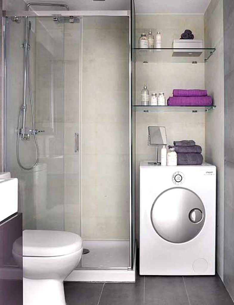 Bathroom interior modern corner shower box combined wall - Very small bathroom ideas ...