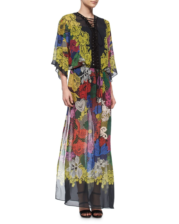 Lace-Up Romantic-Print Caftan Gown, Size: 40, Black - Just Cavalli