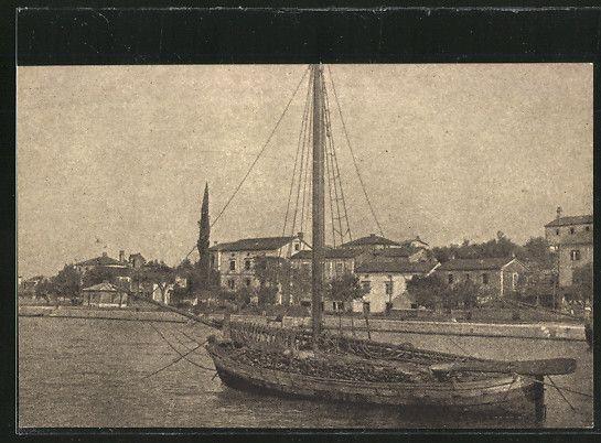 Malinska, le port  avec un petit caboteur à voile latine ou tiercée.