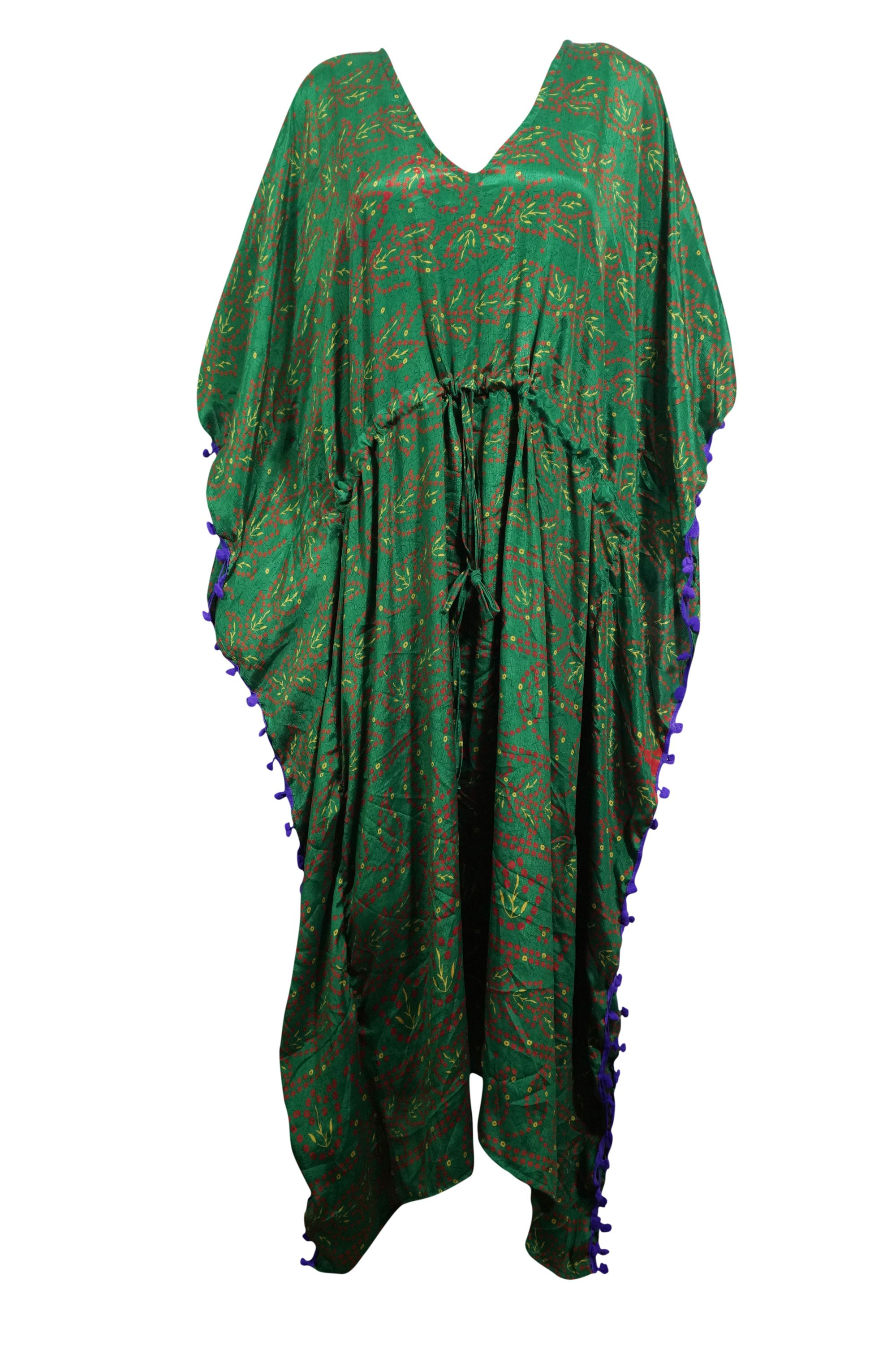 f097f1b760 Mogul Interior - Mogul Women's Green Kimono Caftan V- Neck Pom Pom Tassel  Long Maxi Kaftan 3X - Walmart.com