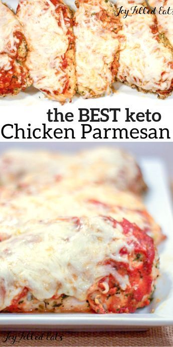 KETO Chicken Parmesan - Low Carb, Keto, Grain-Free, Gluten-Free, THM S - Chicken Parm is one of the dishes at every Italian restaurant in the US. I know why: it's delicious! My EASY baked chicken parm is #keto #grainfree #glutenfree #easyrecipes #Italian #thm #trimhealthymama #chicken #chickenrecipes #chickenparmesan