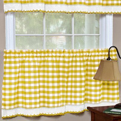 August Grove Tabares Buffalo Check Cafe Curtain Size 58 W X 36 L Color Yellow Curtains Buffalo Check Curtains