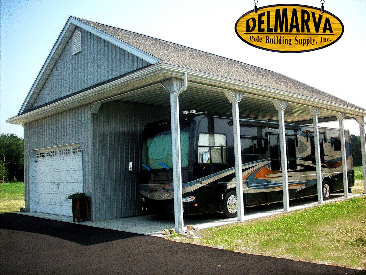 34x45x14 car garage and rv port pole building for Rv shed ideas