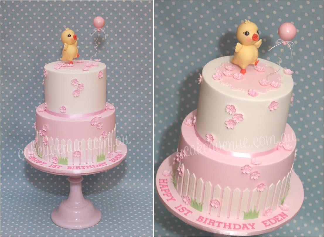 Birthday Cake with Cherry Blossoms and Baby Chick chasing her Balloon.