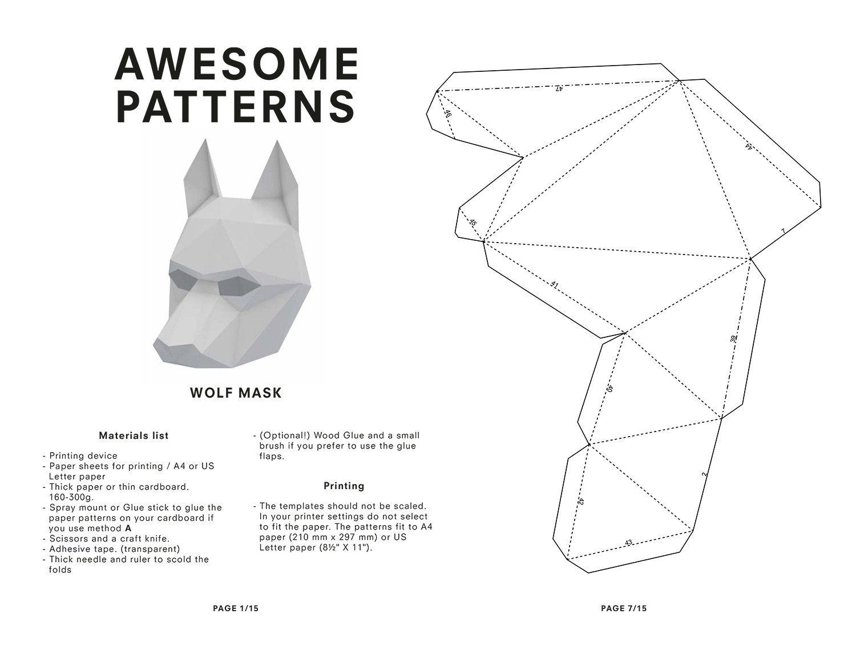 Wolf Mask, DIY printable Animal Head, Printable Mask for New Year ...