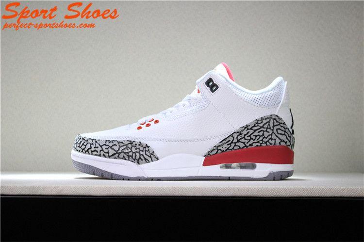 uk availability cce52 154e7 Latest Air Jordan 3 Retro Katrina 136064-116 Womens Sneakers White Gray Red