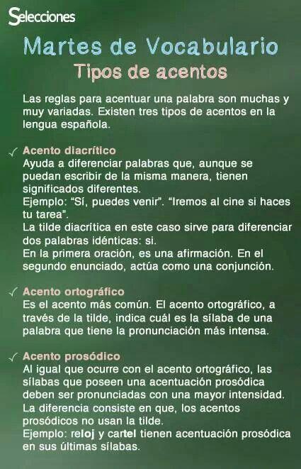 Tipos De Acentos Acentos En Espanol Palabras En Español Ortografía