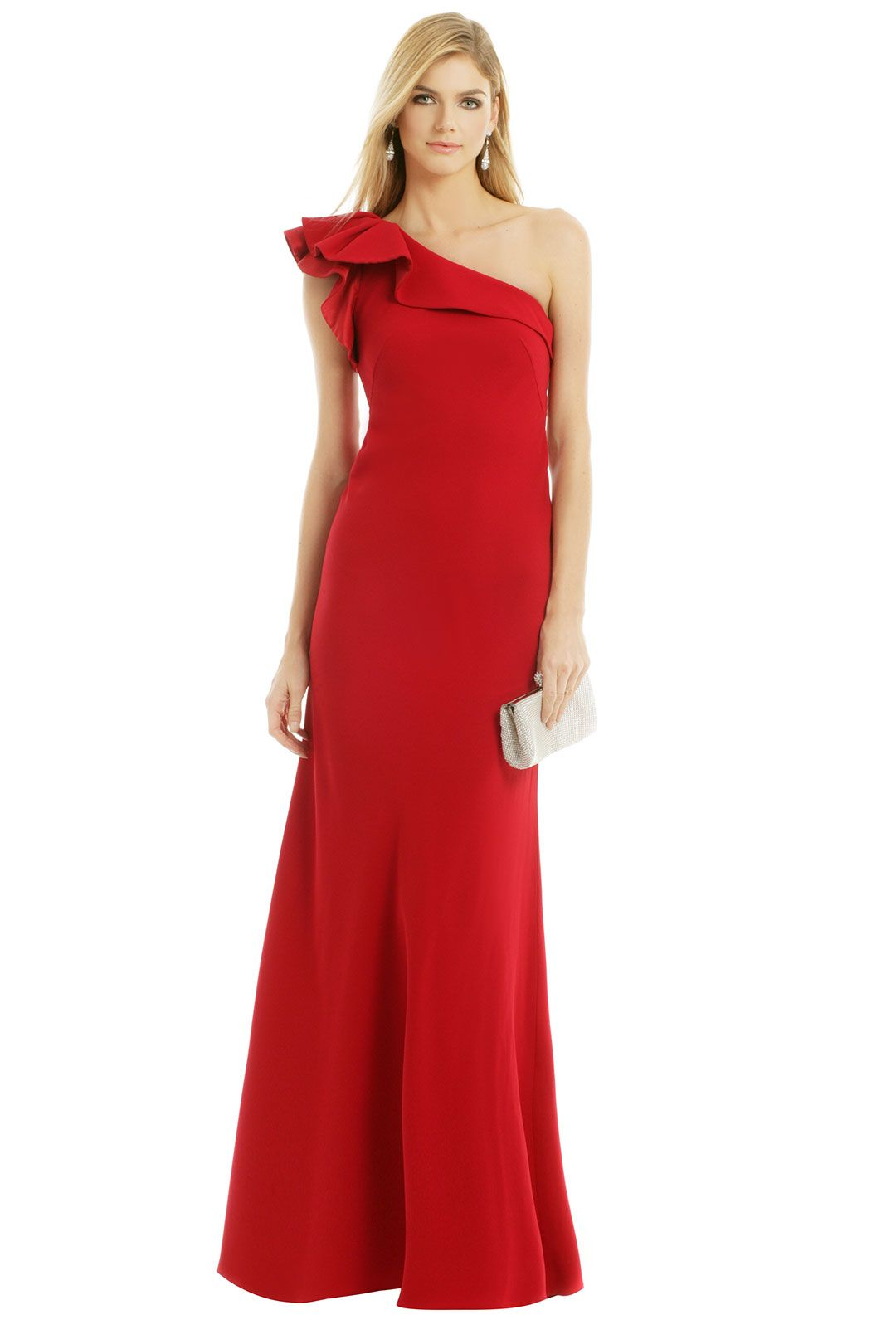 Carmen Marc Valvo All Eyes On You Gown- ruffle, one shoulder ...