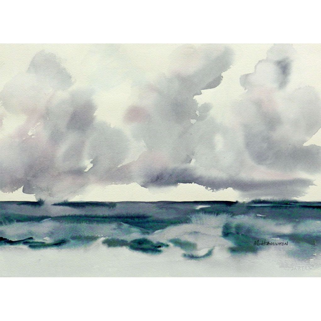 Rain Clouds At Sea Watercolor Original Original Wall Art Arches