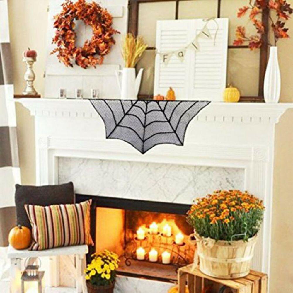 Bats mantle scarf spooky halloween fireplace decoration