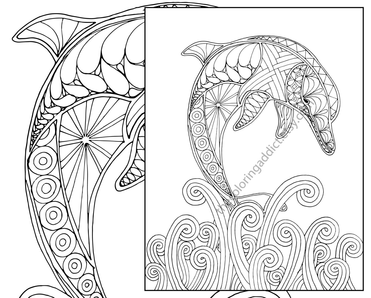 Free coloring pages dolphins - Dolphin Coloring Page Adult Coloring Sheet By Thecoloringaddict