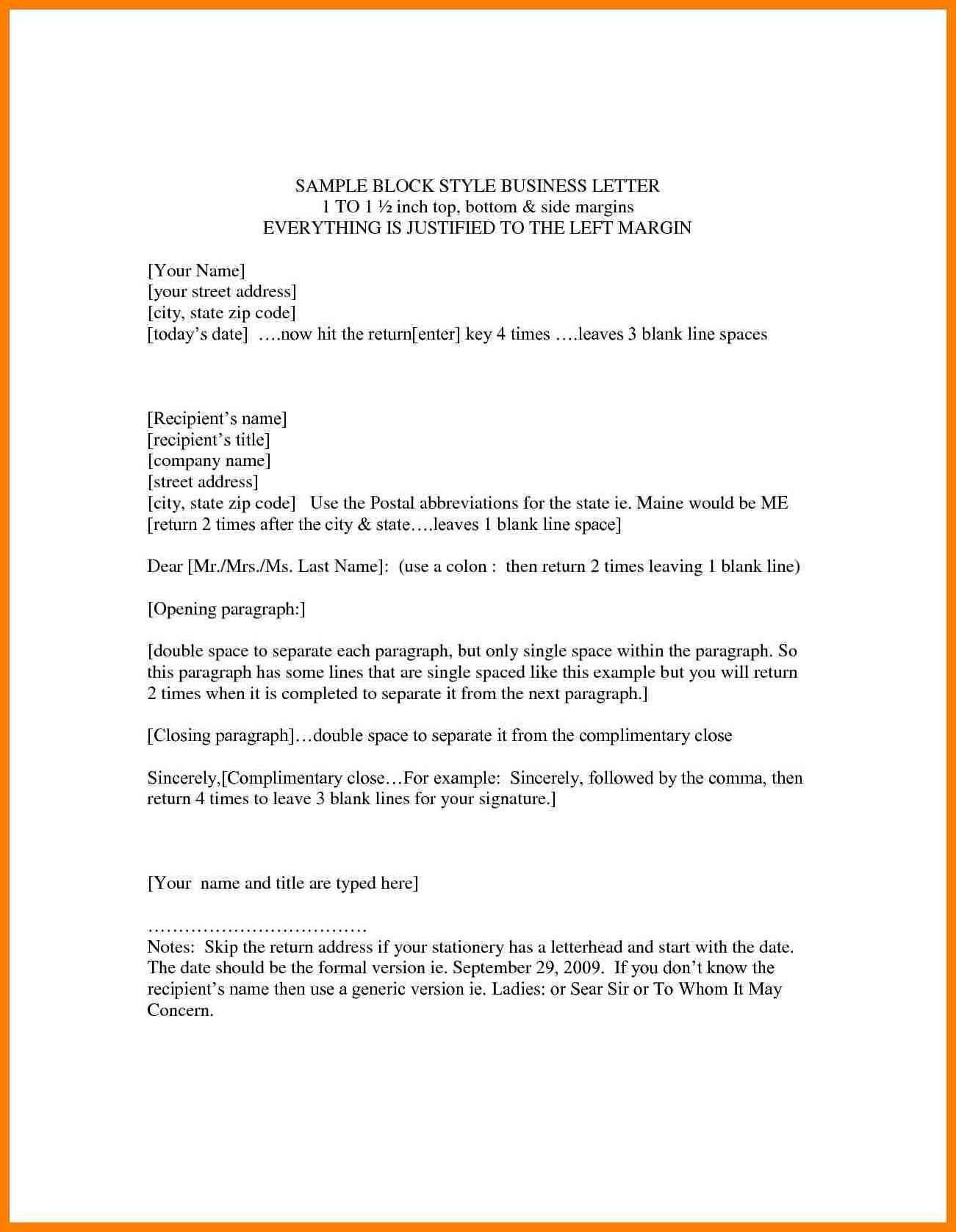 Formal Letter Format Grade Copy Business Letter Block As Business