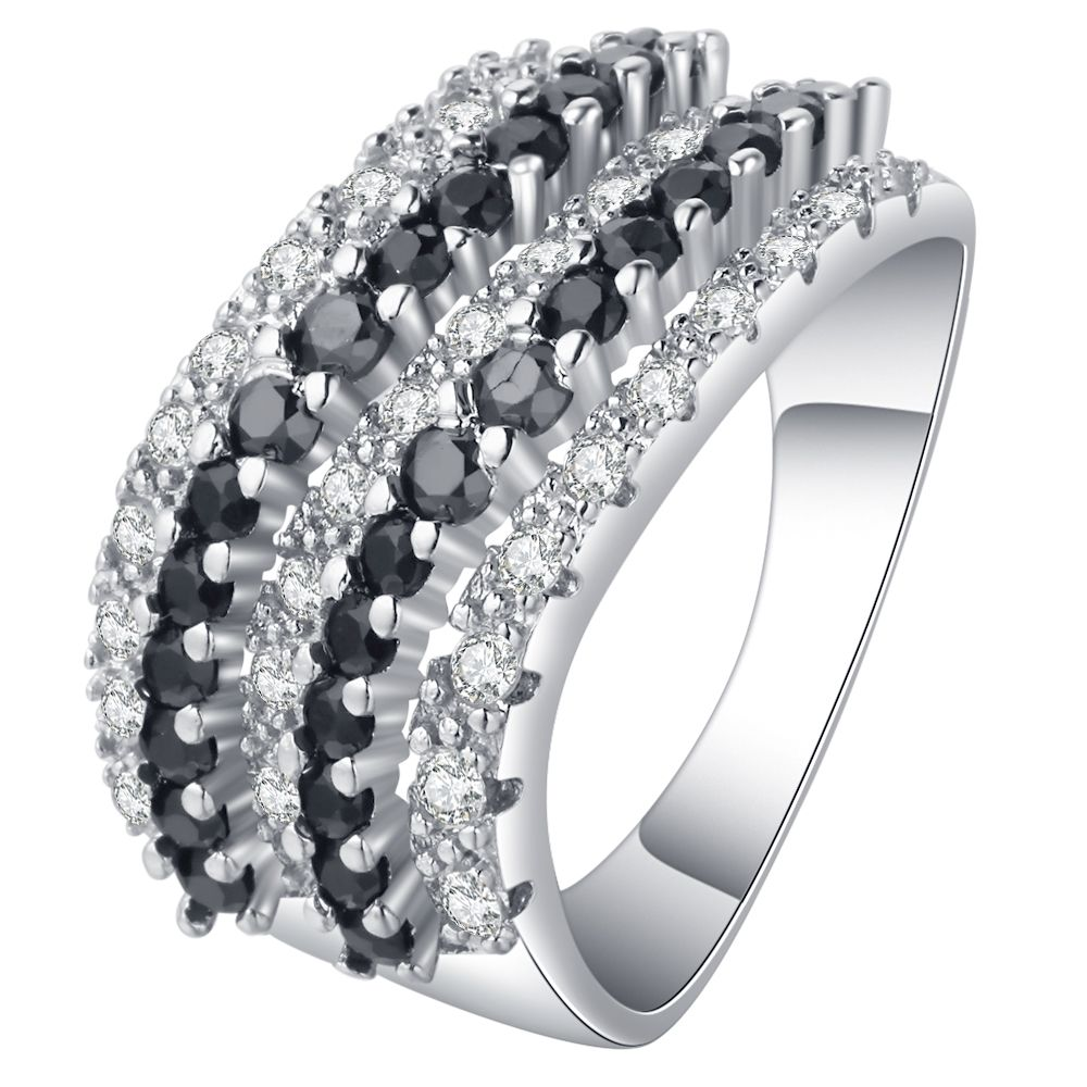Ofuro Vintage Stripe Wave Cz Ring For Women Wedding Clic Jewelry Black And White Design Silver