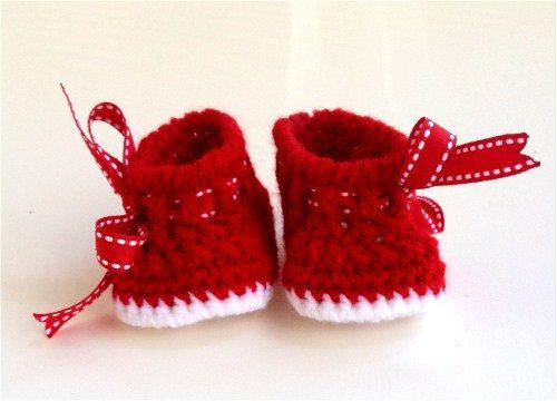 3b4a67151c41f SALE - Ready to Ship - Baby Christmas Crochet Boots sz NB. $18.00 ...