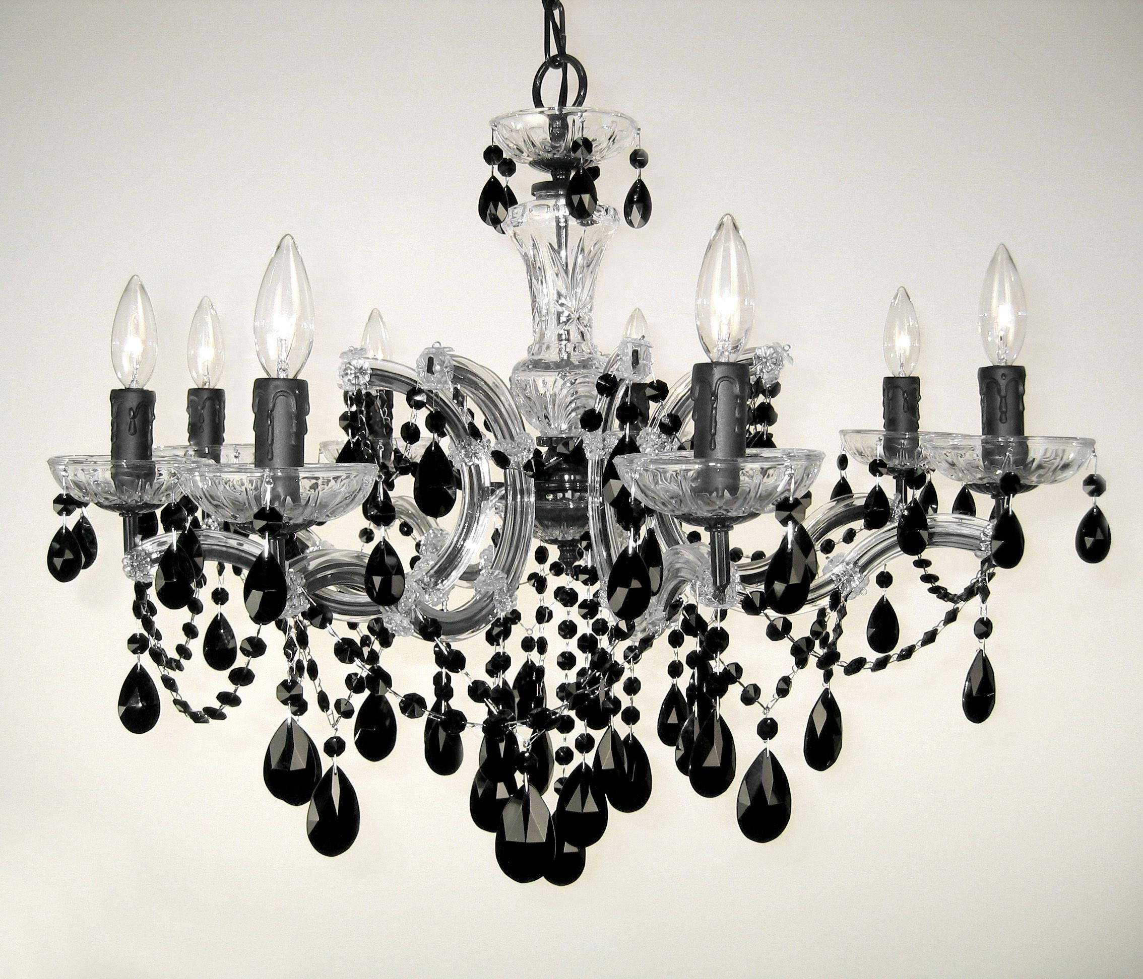 8 Light crystal chandelier with crystalique black crystal with