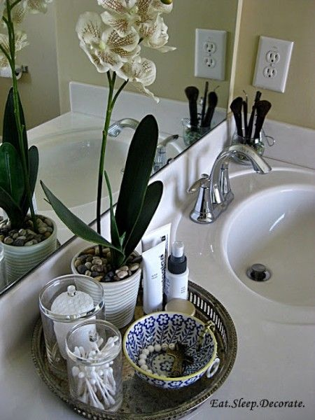 Bathroom Vanity Tray Decor Here's Another Example Of How A Tray Can Organize The Space On