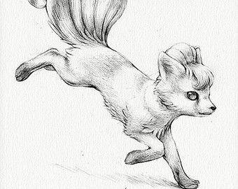 Ninetales Drucken 8 X 10Pokemon Zeichnung Kunst