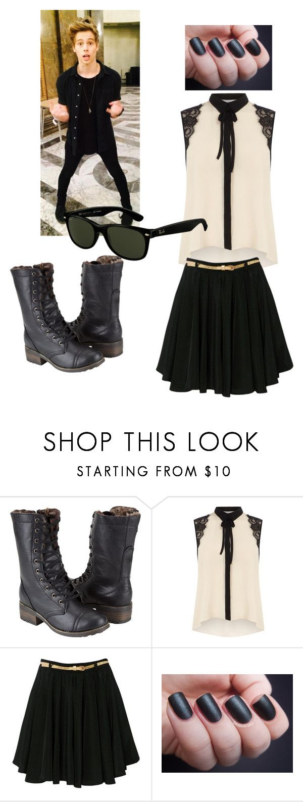 """""""Date Night With Luke"""" by fancy5sauce ❤ liked on Polyvore featuring Dollhouse, Dorothy Perkins, Glamorous, Ray-Ban, DateNight, blackandwhite, 5sos, lukehemmings and 6"""