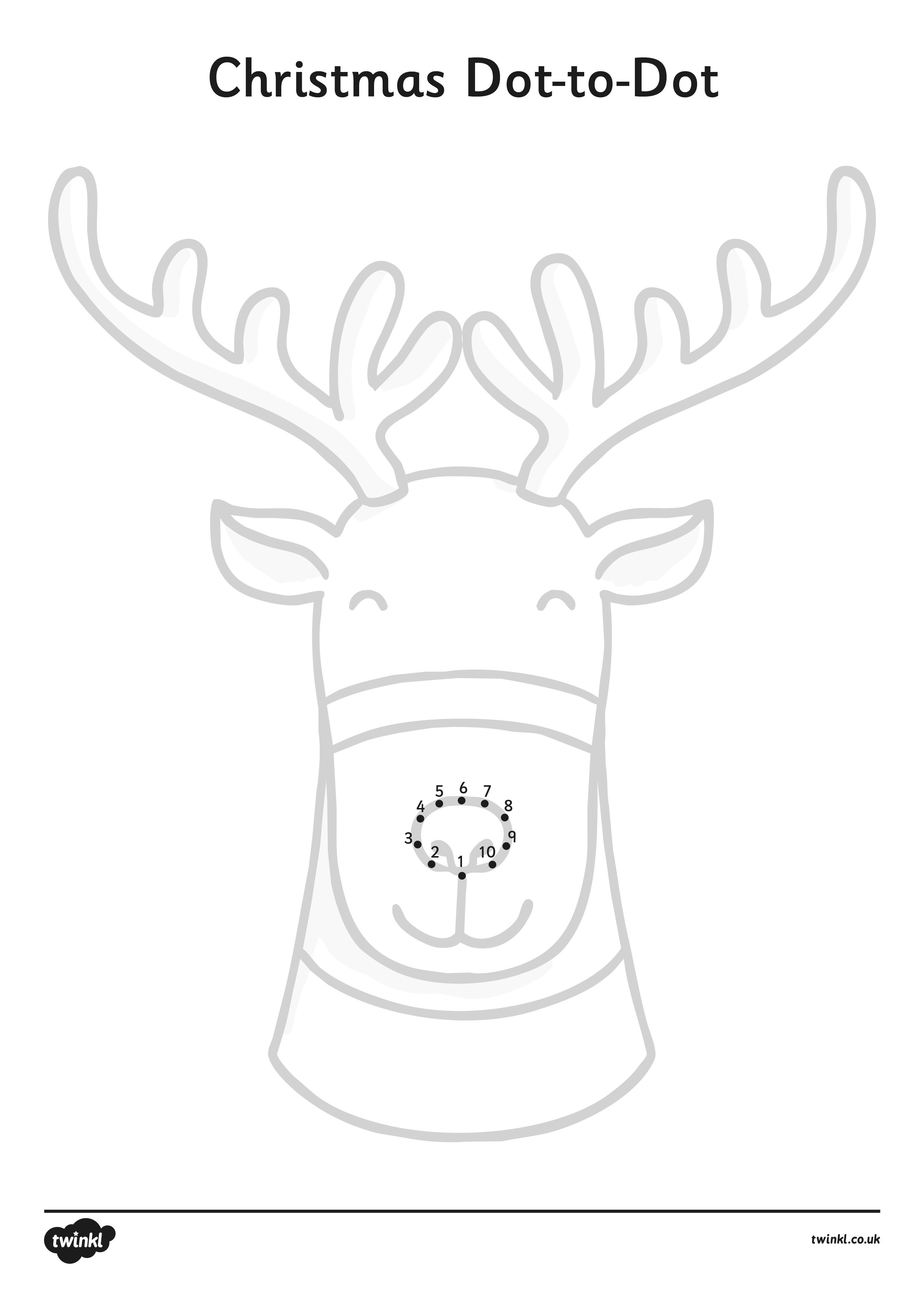 Download And Print This Reindeer Dot To Dot Worksheet To