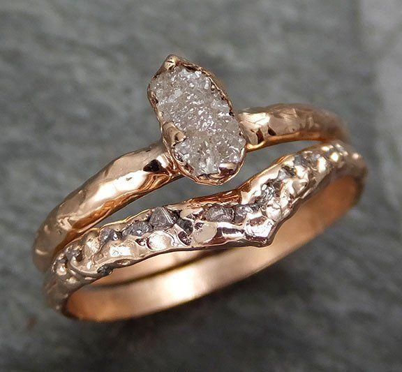 Raw Diamond Solitaire Engagement Ring Rough 14k Rose Gold Wedding Set Stacking Byangeline 0302