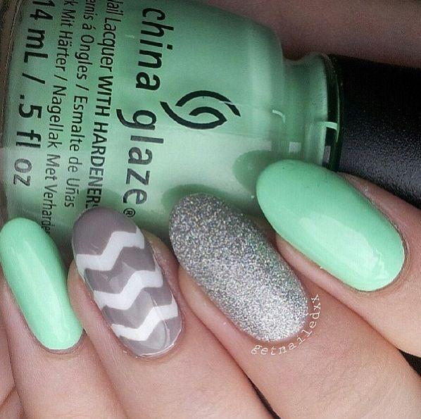 Mint, glittery silver