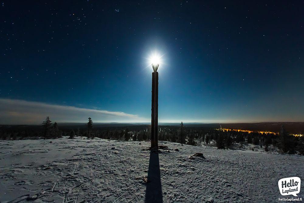 Moonlight over the top of Kiilopää fell in Saariselkä region, Lapland, Finland. 10.1.2014.