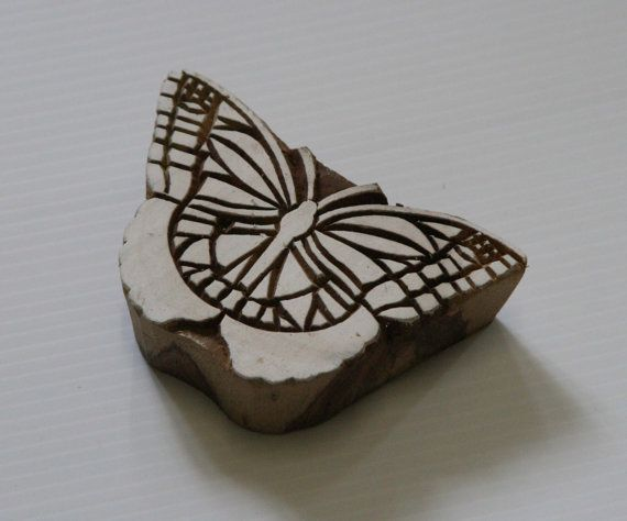 Butterfly Stamp  Hand Carved Wood Block Print by GilbertsTree, $25.00
