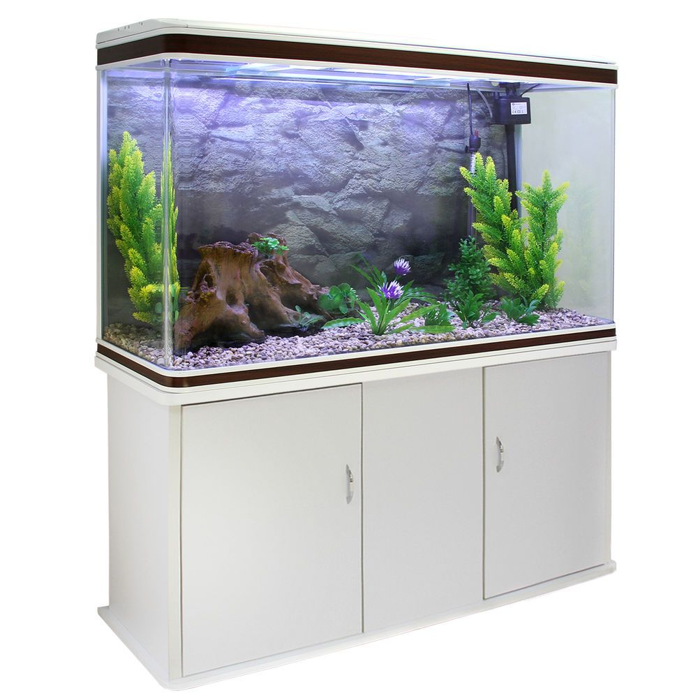 Cabinet aquarium fish tank tropical - White Walnut Trim Fish Tank Comes With Cabinet Plants Gravel Too The Complete Starter Aquarium