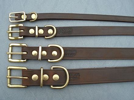 Kenjan HALSBÅND - læder - bredde 24 mm.brun med messing