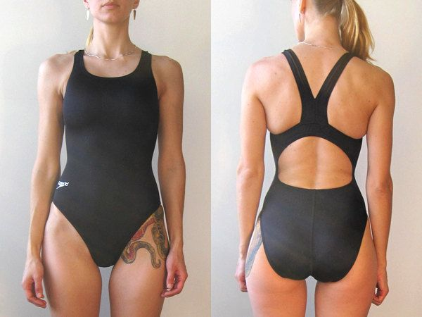 Vintage black speedo swimsuit / one piece swim suit / swimwear / athletic wear / sportswear / black bathing suit. $30.00, via Etsy.