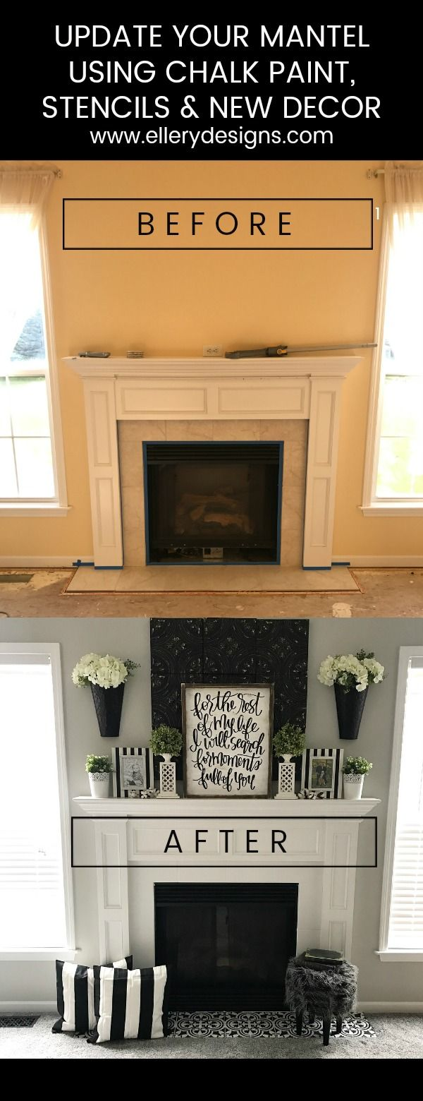 Fireplace Makeover Stencil Tile Using Chalk Paint Ellery Designs Fireplace Makeover Fireplace Tile Fireplace Remodel