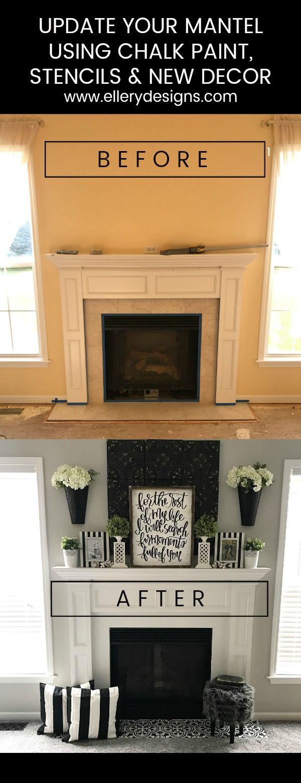 Fireplace Makeover: Stencil Tile using Chalk Paint – Ellery Designs