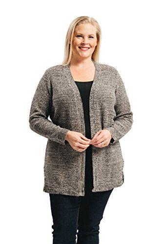 6877ead1437 Arpeggio Women s Plus Marled Texture Cardigan 1X Black Cream ...