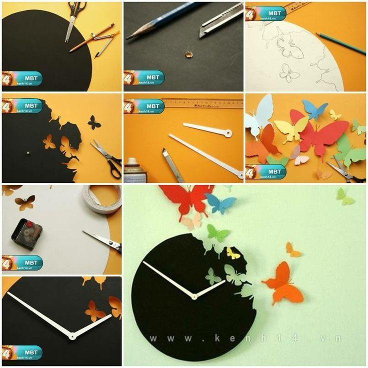 how to diy butterfly clock wall art diy pinterest basteln deko und uhren. Black Bedroom Furniture Sets. Home Design Ideas