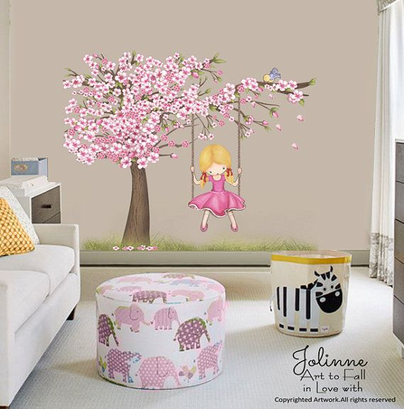 Cherry Blossom Wall Decals For Baby Girl Room, Cherry Blossom Tree Art For  Kids , Bedroom Wall Sticker, Vinyl Wall Decal, Large Sticker Art