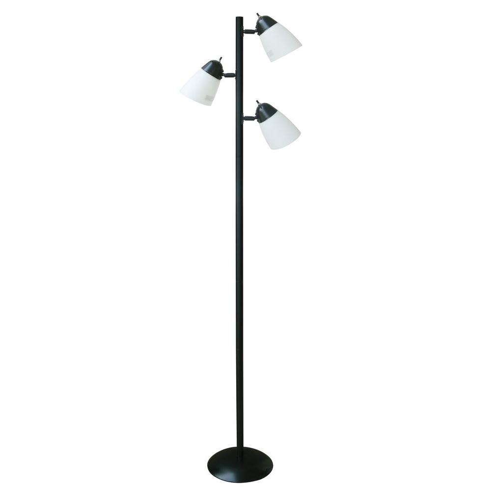 Hampton Bay 64 5 In Black Track Tree Floor Lamp With 3 White Plastic Shades Tree Floor Lamp Metal Lamp Shade Black Floor Lamp