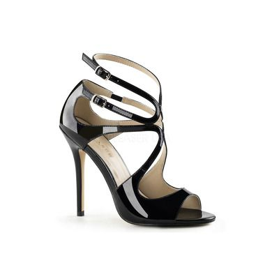 AMUSE 15 Black Patent Strappy Sandals with 5 Inch Heel ❤ 7