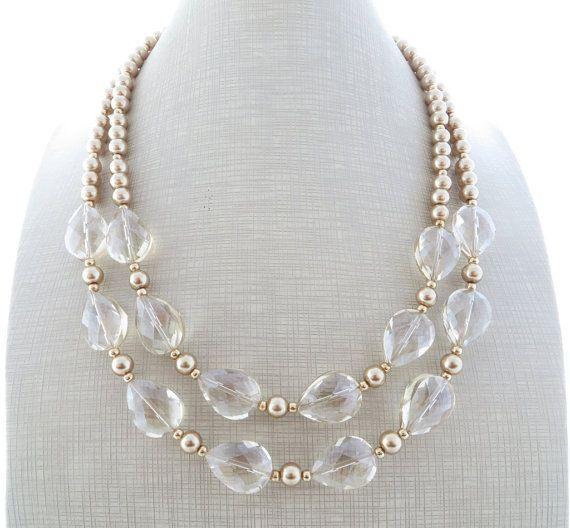 Photo of Gold Statement Halskette, klare Kristall Halskette, Perlenhalsband, klobige Halskette